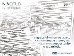 Hello #Nworld  Be grateful when you are taxed it means you made money and you are given an opportunity to be patriotic.  #Nfo  This #BIR form 2307 is what a company issues to its distributors for the total amount withheld from their commissions or sales bonuses. In MLM business independent distributors/agents are withheld 10% of their total income. The same withheld amount could be used by that tax payer to offset from his total income tax. It is the company's obligation to issue all its…