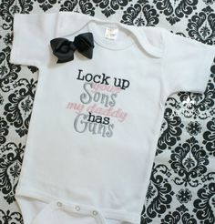 Girls Bodysuit or Shirt with Bow - Baby Shower Gifts - Kids - Creeper - Military - Police - Daddy - Guns - Hunting - Army - Navy - Marines on Etsy, $21.00