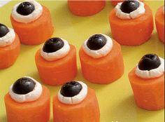 halloween parties, healthy halloween snacks, halloween recipe, food, edibl eyebal, oliv, carrots, halloween treats, halloween appetizers