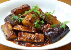 Favorite dish when I lived on in China- it's sweet and spicy fried eggplant- this recipe is pretty authentic! Eggplant Recipes, Greek Recipes, Vegetable Recipes, Asian Recipes, Chinese Eggplant, Sweet And Spicy, Food Inspiration, Food Porn, Side Dishes