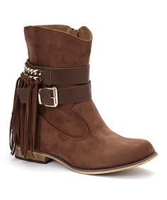 Jacobies Footwear Brown Fringe Morris Ankle Boot | zulily
