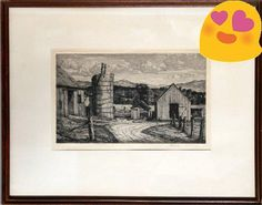 An intricate etching of a #farmhouse by American artust Luigi Lucioni (1900-1988), c. 1945. Working in New York and Vermont, Lucioni #captured the rustic tranquil...