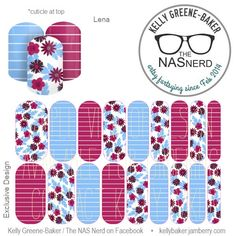 Diggin' it?! Click to get warped over to The NAS Nerd's Marketplace Designer Studio! Express your style w/ custom nail wraps!  • Don't have a personal consultant of your own? New to the Jamberry Universe? Message me on my Facebook Fan Page w/ design requests or an invite to join my VIP customer group! www.facebook.com/KellyGBTheNASNerd/  • nail art cosplay costume diy manicure pedicure lacquer gel kgbnas Lena pale blue, magenta, pink, ice, stripes, flowers, winter, wedding