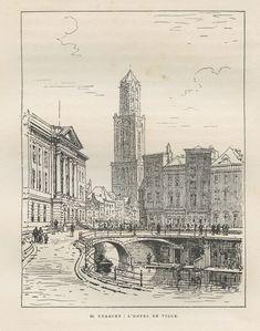 """Een antieke prent (1881) voorstelling """"Utrecht - Het Stadhuis"""" - Maxime Lalanne."""