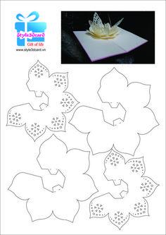 Make Flower Pop-Up Card/kirigami pattern Kirigami Patterns, Kirigami Templates, Pop Up Card Templates, Card Patterns, Kirigami Tutorial, Paper Pop, Diy Paper, Paper Crafts, Origami Paper