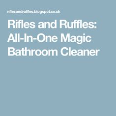 Rifles and Ruffles: All-In-One Magic Bathroom Cleaner