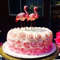 I loved the idea of an ombré cake and then came across these cute flamingos. They weren't actually cake toppers but I made it work. Flamingo Ombré Cake Little Girl Party