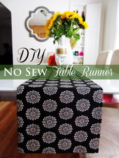 Easy DIY No Sew Table Runner.  Great for holiday table settings.  | Homey Oh My!