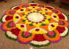 The Colorful Rangoli Designs with Flowers for this Diwali - Spaceio Com - Flower Rangoli Images, Simple Flower Rangoli, Rangoli Designs Flower, Colorful Rangoli Designs, Rangoli Ideas, Rangoli Designs Diwali, Rangoli Designs Images, Beautiful Rangoli Designs, Flower Designs