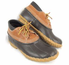 LL Bean Boots 8 Duck Ankle Shoes Leather Waterproof Rubber Rain Hunting Snow #LLBean #AnkleBoots