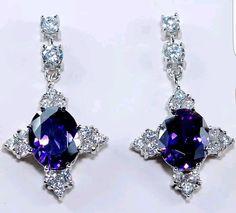 6CT Amethyst & White Topaz 925 Solid Sterling Silver Earrings