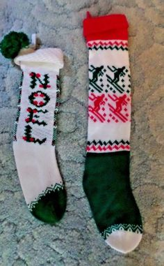 97f5ee0e2 LOT OF 2 VINTAGE KNITTED CHRISTMAS STOCKINGS NOEL AND SKIER
