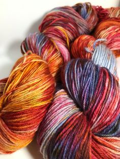 Creativity is Messy Indie Dyed Yarn on Merino cashmere Nylon MCN yellow blue green red orange