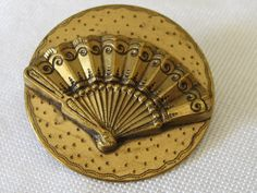 Large Antique Gold Metal Hand Fan BUTTON by abandc on Etsy, $47.95