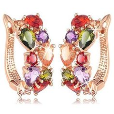 Sparkling Colors Flowerets Vine Swiss Cubic Zirconia 18K Rose Gold Plated Hoop Earrings For Women  http://www.jewelsgalaxy.com/products/luxuria-limited-edition-jewellery-earrings-le/jewels-galaxy/sparkling-colors-flowerets-vine-swiss-cubic-zirconia-18k-rose-gold-plated-hoop-earrings-for-women/pid-11981356.aspx #banglesforwomen #jewelsgalaxy
