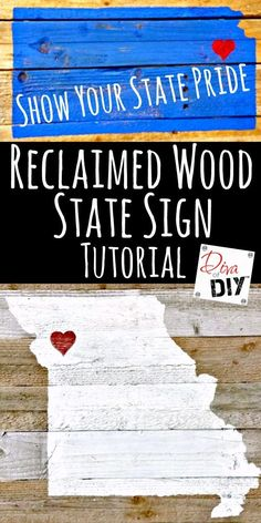 Just looking at general pallet sign instructions These rustic DIY wooden state signs are made out of pallet wood! A great addition to your farmhouse decor! They also make the perfect DIY Christmas gift! Pallet Crafts, Pallet Art, Diy Pallet Projects, Pallet Ideas, Barnwood Ideas, Rustic Crafts, Vinyl Projects, Easy Projects, Rustic Wood