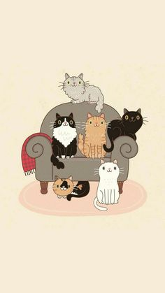 Crazy Cat Lady, Crazy Cats, I Love Cats, Cat Pattern Wallpaper, Cat Wallpaper, Cute Animal Drawings, Animal Sketches, Gatos Wallpapers, Kitten Tattoo