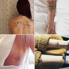 101 unique travel tattoos to fuel your eternal wanderlust ar Travel tattoos popsugar smart living voyage, encre, art corporel, tatouages Travel Maps, Travel Posters, Travel Usa, Popsugar, Graphic Studio, Tattoo 2015, Wanderlust, Travel Clothes Women, Travel Essentials