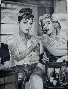 Tattoos, marylin monroe and audrey hapburn