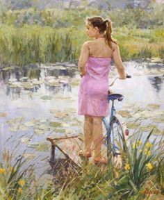 """Girl With Bicycle"" by Vladimir Gusev (1957; Russian)"