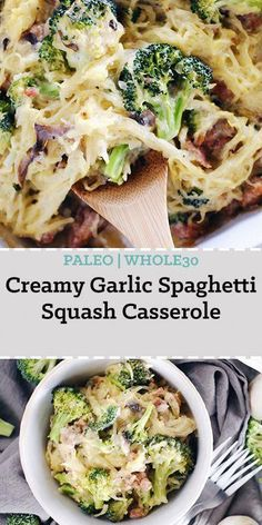 Creamy Garlic Spaghetti Squash Casserole (Paleo, GF + Dairy-Free) This creamy garlic spaghetti squash casserole is so creamy and delicious! It has a Paleo + compliant creamy sauce that's smothered over spaghetti squash, mushrooms, broccoli Garlic Spaghetti, Courge Spaghetti, Whole 30 Spaghetti Squash, Healthy Spaghetti Squash Recipes, Whole Food Recipes, Cooking Recipes, Healthy Recipes, Simple Recipes, Healthy Foods