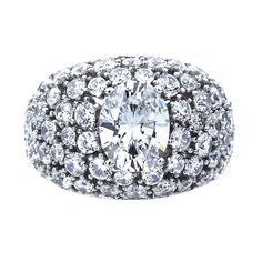 Amazon.com: Platinum Plated Sterling Silver Oval Cut CZ Cocktail Rings ( Size 5 to 9) Size 7: Jewelry