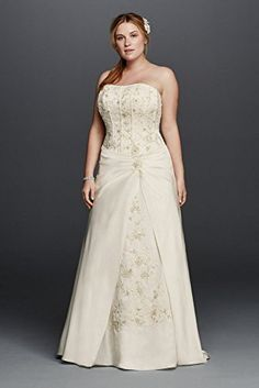PSD Satin A-line Plus Size Wedding Dress with Corset Style 9OP1249