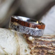 Wedding Bands antler wood and arrow ring - Through the middle shoots a delicately handcrafted, silver arrow. This silver arrow ring highlights the customizing ability we have here at Jewelry by Jo. Deer Antler Wedding Band, Antler Ring, Arrow Ring, Wedding Men, Wood Themed Wedding, Wedding Stuff, Wedding Ideas, Wedding Reception, Dream Wedding