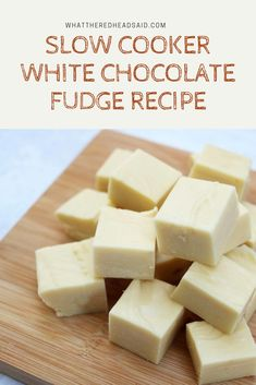 Super Easy Slow Cooker White Chocolate Fudge Recipe A really simple, three ingredient fudge recipe that's lovely to enjoy at home or give as a gift. Foolproof Fudge Recipe, Fudge Recipes, Dessert Recipes, Easy Fudge, Biscoff Recipes, Slow Cooker Recipes Dessert, Candy Recipes, Sweet Recipes, Delicious Desserts