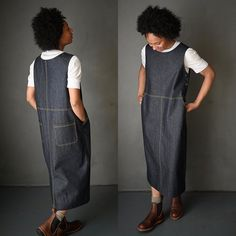 The Whittaker Dress Sewing pattern by Merchant and Mills is a classic pinafore for work and play. With a buttoned side fastening, side and back pockets. Make it long with a back split or short. Modern Sewing Patterns, Dress Sewing Patterns, Clothing Patterns, Pattern Sewing, Skirt Patterns, Vogue Patterns, Coat Patterns, Pattern Drafting, Blouse Patterns