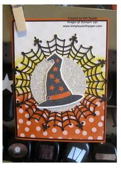 2015 Stampin Up Holiday catalog sneak peek. Howl-o-ween Treat stamp set and matching Boo to You Framelits Dies card. Halloween card. Witches hat.