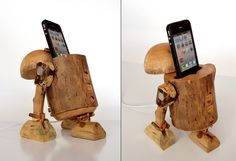 Dock The Jedi Way With The R2-D2 Wooden iPhone Dock - Would have been better if not WOOD (whose crazy idea was that?)