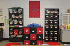 More red and black classroom.  Cubbies would go with Disney theme.
