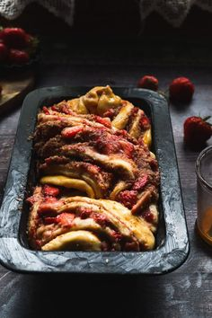 This babka is a super fluffy thing made out of brioche dough with saffron and stuffed with fresh strawberries, cardamom and coconut. The flavors are amazing and a little decadent and great as a summer Sunday afternoon treat or for a family holiday breakfast. #babka #briochedough #babkarecipe #briochebabka #sweetbread #coconutrecipe #saffronrecipe #strawberryrecipe #breakfastrecipe #hollidaysrecipe Unique Recipes, Sweet Recipes, Real Food Recipes, Holiday Desserts, Holiday Recipes, Saffron Recipes, Babka Recipe, Coconut Recipes
