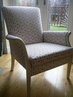 polka dot bedroom chair. parker knoll. shabby chic, reading chair. vintage. | eBay