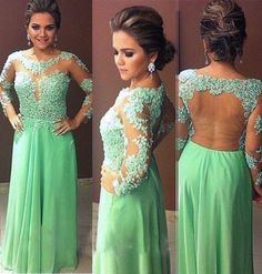 Elegant Long Evening Dresses,Green Evening Dresses,Sheer Neck Prom Dresses,Long Sleeves Evening Dresses,Party Dresses