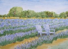 Blanco Texas Lavender Field with Chairs No by TexasHillCountryArt, $125.00