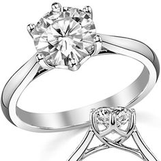 Round Moissanite 6-Prong Trellis Solitaire Ring. Apparently I sometimes like solitaires if the prongs are interesting.