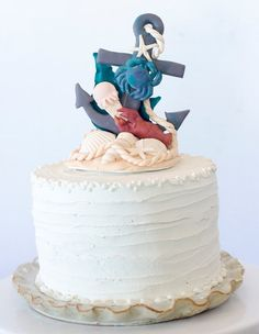 Fondant Summer inspired anchor cake topper by SeasonablyAdorned