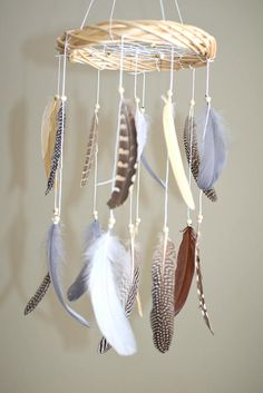 Neutral Feather Baby Mobile Dream Catcher Baby Mobile Gender