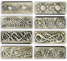 CELTIC JEWELLERY LITTLE BOXES 2  Some celtic little jewelry boxes. 20 x 8 x 4 cm.    Embossed (repousse) jewelry boxes.    There are many measures and a great variety of motifs and designs based in historical ornaments from all ages and my own designs.    Like in all my works you can choose all the parts of the embossing design, including main motif, names, dedications, date… and all you want to include.