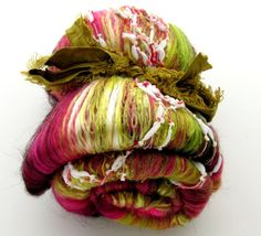 Rose Petals Art Batt  2.8 oz Textured Spinning/Felting via Etsy