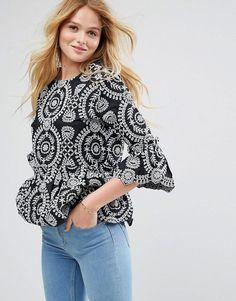 ASOS Premium Embroidered Smock Top - Black