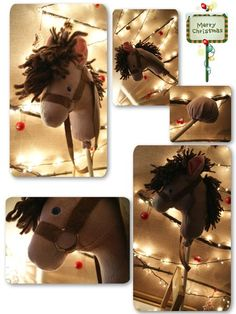 Horse on stick Decoration, Montessori, Gift Wrapping, Horses, Christmas Ornaments, Holiday Decor, Kids, Gift, Children