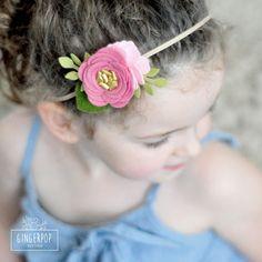 Single Felt Rose Headband or Alligator Clip Pink Felt Flower