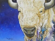 Painting by artist Micqaela Jones, White Buffalo.jpg