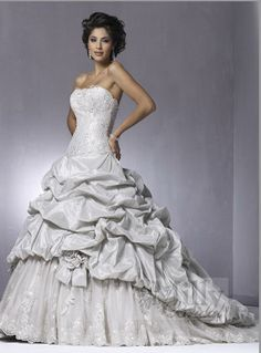 Ruffles Sweep Train Strappless A Line Stain Ivory Sexy Wedding Dresses WDS111