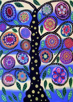 Kerri Ambrosino Art NEEDLEPOINT Mexican Folk Art  Tree of Life Flowers Summer Spring French Blue on Etsy, $22.99