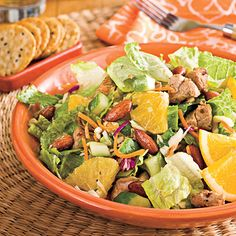 Spicy Pork-and-Orange Chopped Salad ~ Combining romaine and coleslaw mix makes this dish crispy and crunchy. The soy sauce-flavored almonds are a new favorite in our Test Kitchen. Find them sold in cans alongside cocktail peanuts. Chopped Salad Recipes, Best Salad Recipes, Chicken Salad Recipes, Spicy Recipes, Pork Recipes, Healthy Recipes, Chopped Salads, Delicious Recipes, Healthy Soups