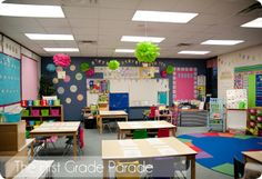 I really like this. Maybe not the way that the tables are organized but I think that they would still work in an elementary classroom. I love all the bright colors and the way that the walls are decorated. This website provides a lot of other neat ideas on how to decorate a classroom and provides other close up picture to show all the details.
